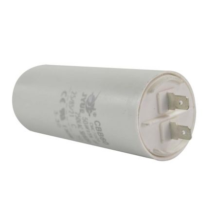 Superior Electric CMC7006 50MFD +/-5% 50Hz/60Hz AC 250V Cylinder Motor Running Capacitor - 2 Pin, White Color, 8mm Threaded End (CBB60)