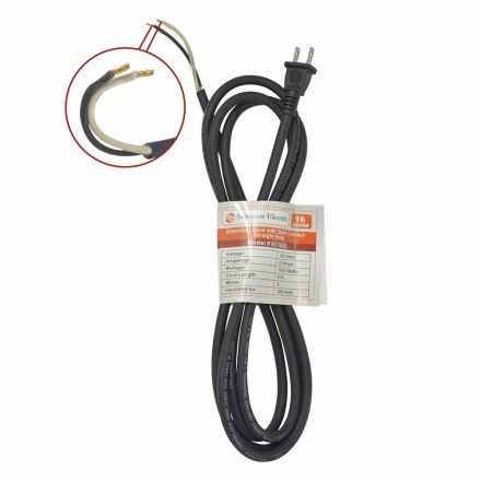 Superior Electric EC162Q 9 Feet 16 AWG SJO 2 Wire 125 Volt Electrical Cord with Quick Connect Straight Ends