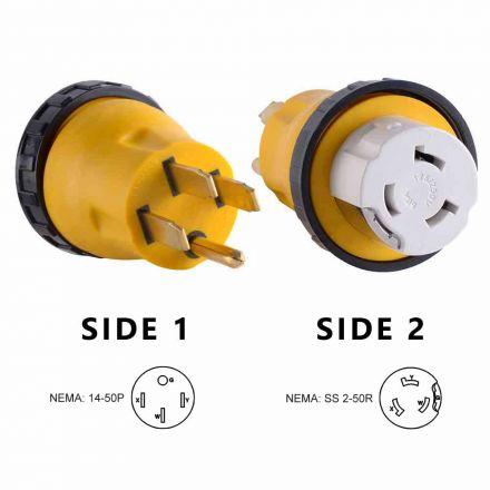 Superior Electric RVA1509L 50 Amp Male NEMA 14-50P to 50 Amp Female NEMA SS 2-50R Locking Adapter