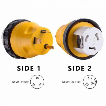 Superior Electric RVA1510L 30 Amp Male NEMA TT-30P to 50 Amp NEMA SS 2-50R Female Locking Adapter