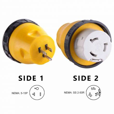 Superior Electric RVA1511L 15 Amp Male NEMA 5-15P to 50 Amp Female NEMA SS 2-50R Locking Adapter