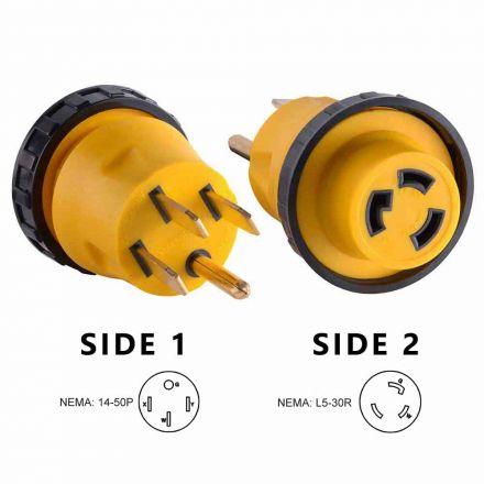 Superior Electric RVA1512L 50 Amp Male NEMA 14-50P to 30 Amp Female NEMA L5-30R Locking Adapter