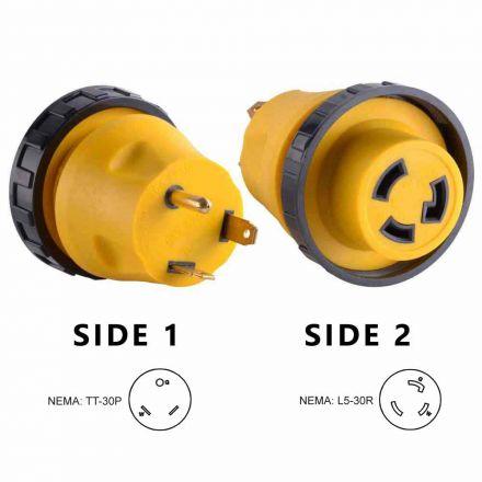 Superior Electric RVA1513L 30 Amp Male NEMA TT-30P to 30 Amp Female NEMA L5-30R Locking Adapter