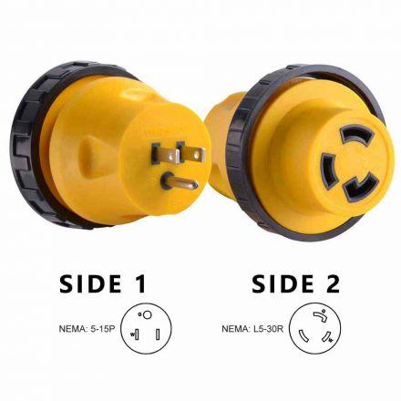 Superior Electric RVA1514L 15 Amp Male NEMA 5-15P to 30 Amp Female NEMA L5-30R Locking Adapter