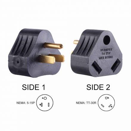 Superior Electric RVA1515 15 Amp Male NEMA 5-15P to 30 Amp Female NEMA TT-30R Adapter Plug (Triangle)