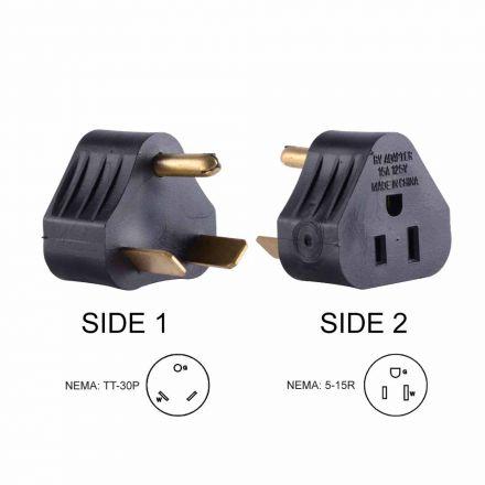 Superior Electric RVA1516 30 Amp Male NEMA TT-30P to 15 Amp Female NEMA 5-15R Adapter Plug (Triangle)