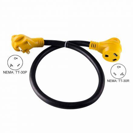 Superior Electric RVA1526 15 ft. 30 Amp NEMA TT-30R RV 10AWG Extension Cord Plug NEMA TT-30P W/Handle