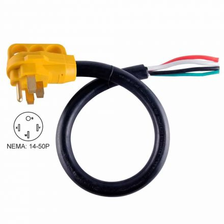 Superior Electric RVA1529 25 ft. 50 Amp 6/3 + 8/1 -Gauge NEMA 14-50P RV Cord W/6 Inch Loose End Plug & Handle
