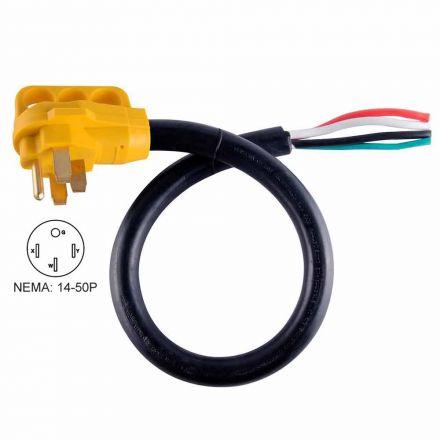 Superior Electric RVA1530 50 ft. 50 Amp 6/3 + 8/1 -Gauge NEMA 14-50P RV Cord W/6 Inch Loose End Plug & Handle