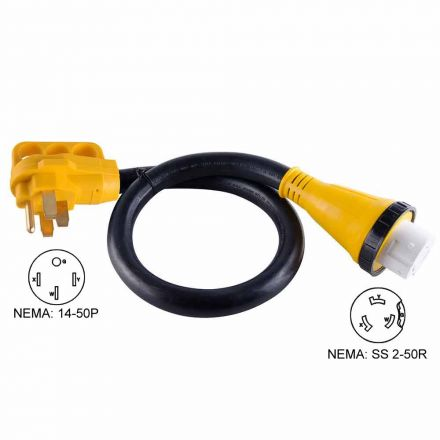 Superior Electric RVA1533 50 ft. 50 Amp NEMA SS 2-50R RV 6AWG Cord With Connector Plug NEMA 14-50P & Handle