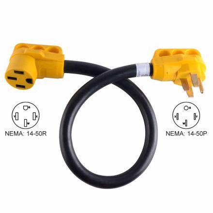 Superior Electric RVA1536 50 ft. 50 Amp NEMA 14-50R RV 6AWG Extension Cord Plug NEMA 14-50P W/Handle