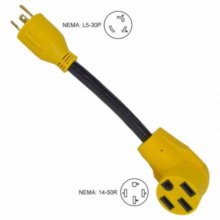 Superior Electric RVA1538 Generator 30 Amp 3 Pole NEMA L5-30P to RV 50 Amp Female NEMA 14-50R 12 Inch 10AWG/3 Cord