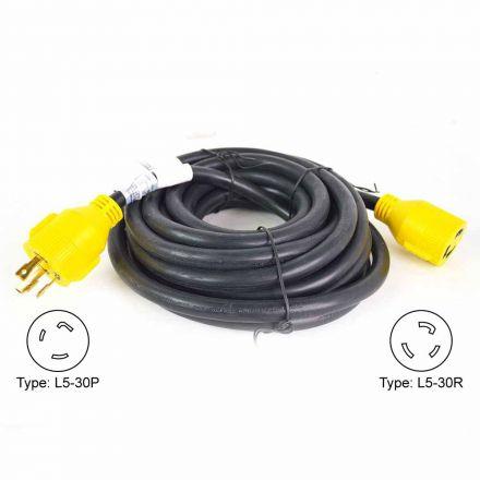 Superior Electric RVA1554 Generator Extension Cord NEMA L5-30P 30 Amp 3 Pole SJTW NEMA L5-30R 10AWG/3, 25ft