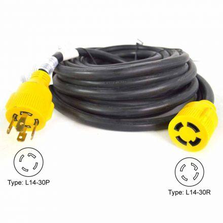 Superior Electric RVA1556 Generator Extension Cord NEMA L14-30P 30 Amp 4 Pole SJTW NEMA L14-30R 10AWG/4, 25ft