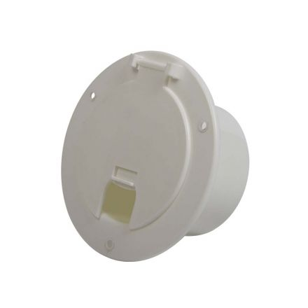Superior Electric RVA1568 Deluxe Round Electric Cable Hatch with Back for 30A & 50A Cords - White