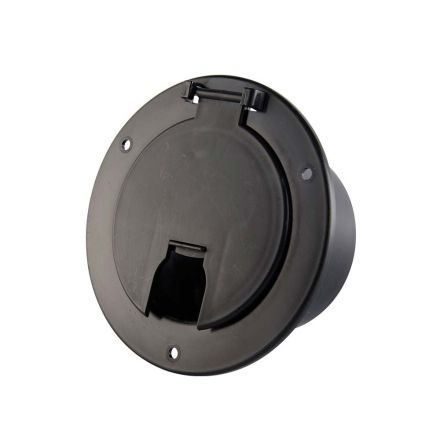 Superior Electric RVA1569 Deluxe Round Electric Cable Hatch with Back for 30A & 50A Cords - Black