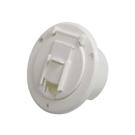 Superior Electric RVA1570 Basic Round Electric Cable Hatch with Back for 30 Amp Cord - White