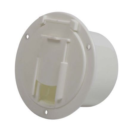 Superior Electric RVA1574 Round Electric Cable Hatch for 50 Amp Cord - White