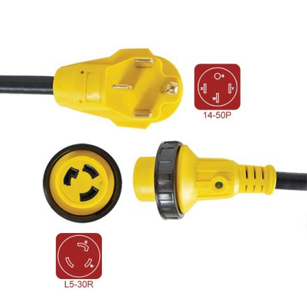 Superior Electric RVA1582 RV Pigtail Adapters 50 Amp Male NEMA 14-50P to 30 Amp Female NEMA L5-30R, Length 18-Inch 10AWG/3 Cord