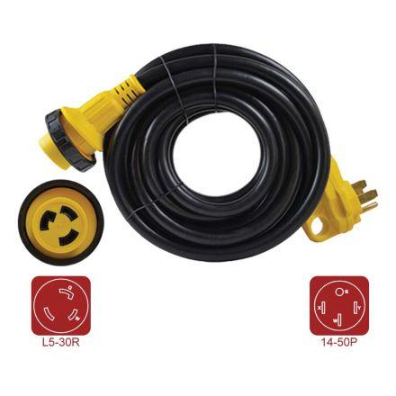 Superior Electric RVA1583 RV Extension Cord 10AWG/3 - 50 Amp Male NEMA 14-50P to 30 Amp Female NEMA L5-30R, Length 25ft