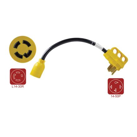 Superior Electric RVA1585 RV Pigtail Adapters 50 Amp Male NEMA 14-50P to Generator 30 Amp Female NEMA L14-30R, Length 18-Inch 10AWG/4 Cord