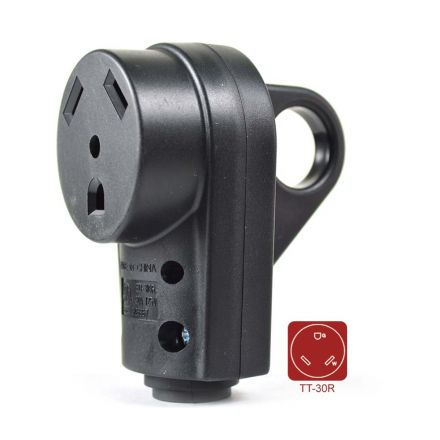 Superior Electric RVA1594 30 AMP RV Receptacle NEMA TT-30R with Handle - ETL Approved