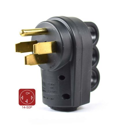 Superior Electric RVA1595 50 AMP RV Plug NEMA 14-50P with Handle - ETL Approved