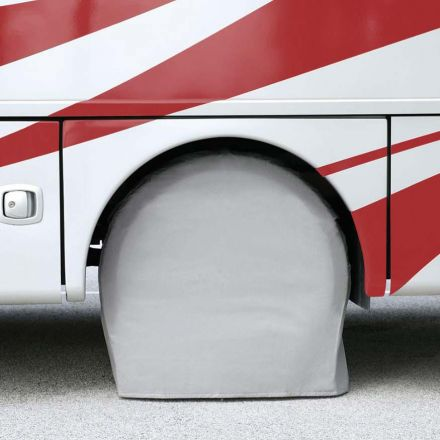 Superior Electric RVA1606 RV Trailer White Vinyl Tire Cover Pair for Size 36 Inch-39 Inch– (Set of 2)