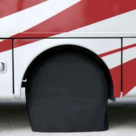 Superior Electric RVA1608 RV Trailer Black Vinyl Tire Cover Pair for Size 30 Inch- 32 Inch– (Set of 2)