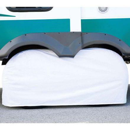 Superior Electric RVA1611 RV Trailer White Vinyl Dual / Double Tire Cover for Size 30 Inch-33 Inch