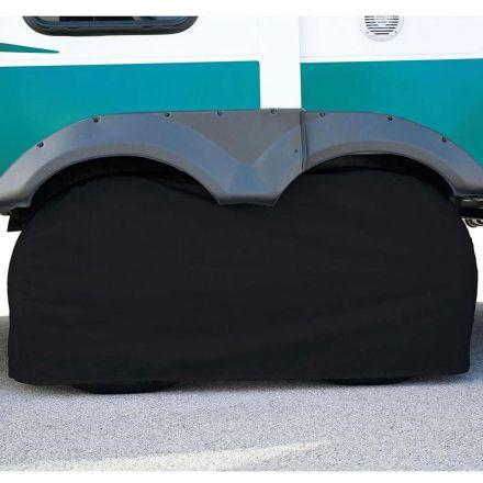 Superior Electric RVA1613 RV Trailer Black Vinyl Dual / Double Tire Cover for Size 30 Inch-33 Inch