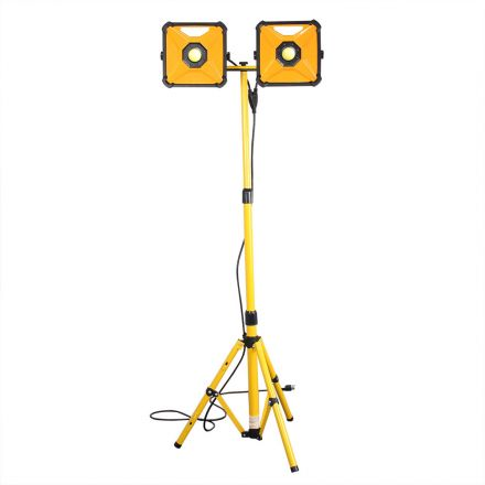 Superior Electric SE-LED50WFL Dual-Head 100W 4200 Lumen Per Bulb LED Worklight with Detachable Metal Lamp Housing and Metal Telescoping Tripod