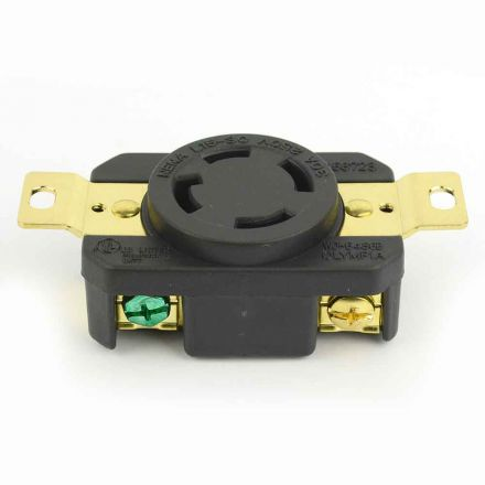 Superior Electric YGP028F Twist Lock Wall Mount Electrical Receptacle 4 Wire, 30 Amps, 250V, NEMA L15-30R